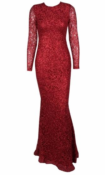 Lady In Red Deep Red Lace Glitter Long Sleeve Scoop Neck Fishtail Mermaid Maxi Dress Gown