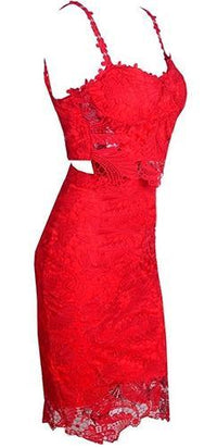 Love Not Lust Red Lace Spaghetti Strap V Neck Crop Tank Top Bodycon Midi Skirt Two Piece Dress !! - Sold Out
