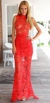 Red Sheer Lace Sleeveless Funnel Neck Zip Back Bodycon Maxi Dress - Sold Out