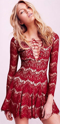 71be363ab3 Brave Heart Red Sheer Lace Long Sleeve Lace Up V Neck Skater Circle A Line  Flare