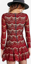 Brave Heart Red Sheer Lace Long Sleeve Lace Up V Neck Skater Circle A Line Flare Mini Dress - Sold Out