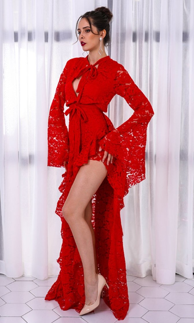 Capture The Moment Red Lace Long Bell Sleeve Tie Neck Ruffle High Slit Maxi Dress