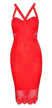 Red Sheer Lace Sleeveless Cut Out Strap Zip Back Bodycon Midi Dress - Sold Out