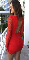 Red Lace Long Sleeve Plunge V Neck Cut Out Back Ruched Tulip Bodycon Mini Dress !!- Sold Out