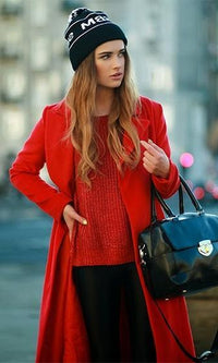 Make My Day Red Long Sleeve Lapel Full Length Coat - Sold Out