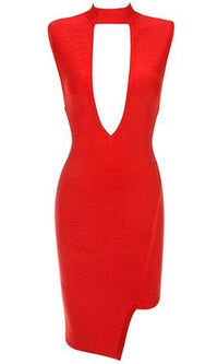 Raise The Bar Red Sleeveless Mock Neck Cut Out Plunge V Neck Bodycon Bandage Midi Dress - Sold Out