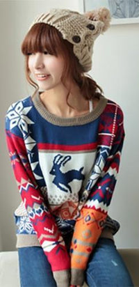 Red Navy Blue White Orange Beige Scoop Neck Reindeer Snowflake Long Sleeve Christmas Sweater - Sold Out
