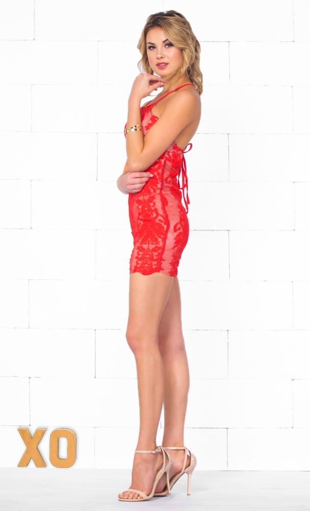 Indie XO All My Loving Red Nude Lace Sleeveless Spaghetti Strap Halter Open Back Bodycon Mini Dress - Just Ours!