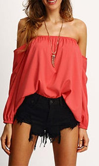 Ticket To Ride Red Long Sleeve Off The Shoulder Loose Blouse - Sold Out