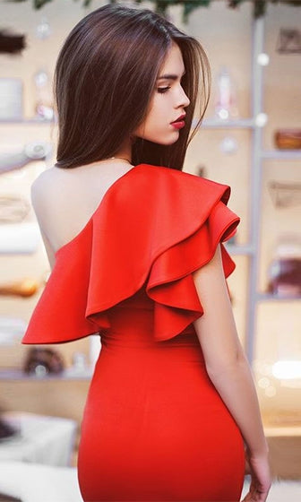 Let's Go Crazy Red One Shoulder Ruffle Bodycon Mini Dress - Sold Out