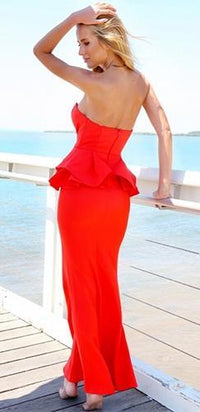 Red Peplum Waist Sweetheart Neck Line Fishtail Hem Maxi Dress - Sold Out