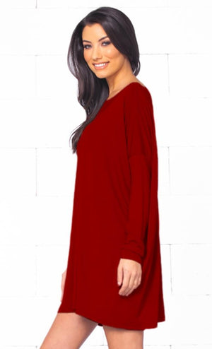 Piko 1988 Christmas Holiday Bright Red Long Sleeve Scoop Neck Piko Bamboo Oversized Basic Tunic Tee Shirt Mini Dress - Limited Edition