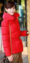 Red Long Sleeve Horizontal Quilted Belted Ruched Collar Puffer Coat - Sold Out