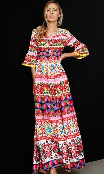 Sweet Siesta Red Pink White Yellow Blue Floral 3/4 Sleeve Square Neck Beaded Crystal Faux Button Accent Pleated Maxi Casual Dress