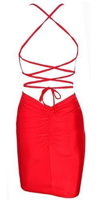 Red Spaghetti Strap Deep V Neck Crisscross Open Back Ruched Cut Out Bodycon Midi Dress - Sold Out