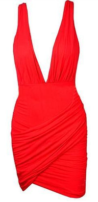 Red Sleeveless Plunge V Neck Wrap Ruched Cross Back Bodycon Mini Dress - Sold Out
