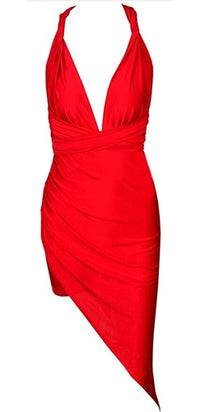 Step To It Red Sleeveless Convertible Halter Ruched Asymmetric Bodycon Mini Dress - Sold Out