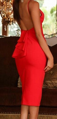 Red Spaghetti Strap Plunge V Neck Ruffle Open Back Bodycon Midi Dress - Sold Out