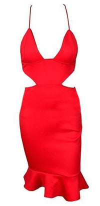 Go Getter Red Spaghetti Strap V Neck Cut Out Waist X Back Ruffle Trim Bodycon Midi Dress - Last One! - Sold Out