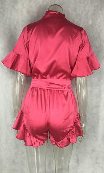 Electric Playground Red Silky Short Sleeve Ruffle Trim Cross Wrap V Neck Tie Waist Romper Playsuit