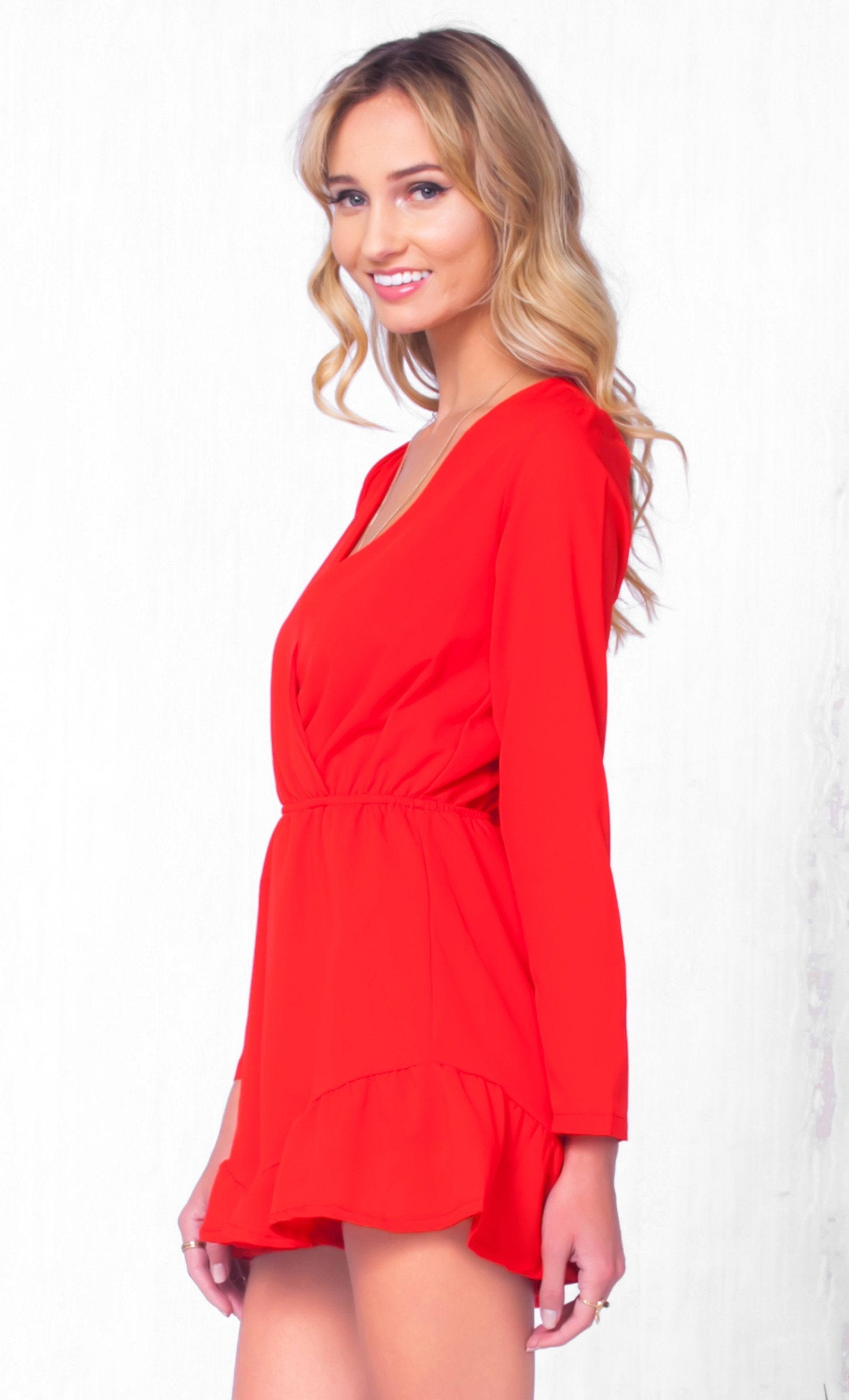 Indie XO Be Amazed Red Chiffon Long Sleeve Cross Wrap V Neck Elastic Waist Ruffle Short Romper - Just Ours! - Sold Out