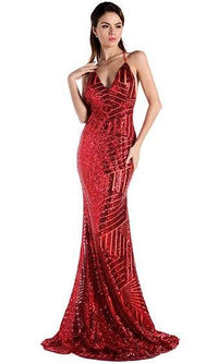 Go For It Red Geometric Sequin Spaghetti Strap Plunge V Neck Halter Backless Maxi Dress Evening Gown - Sold Out