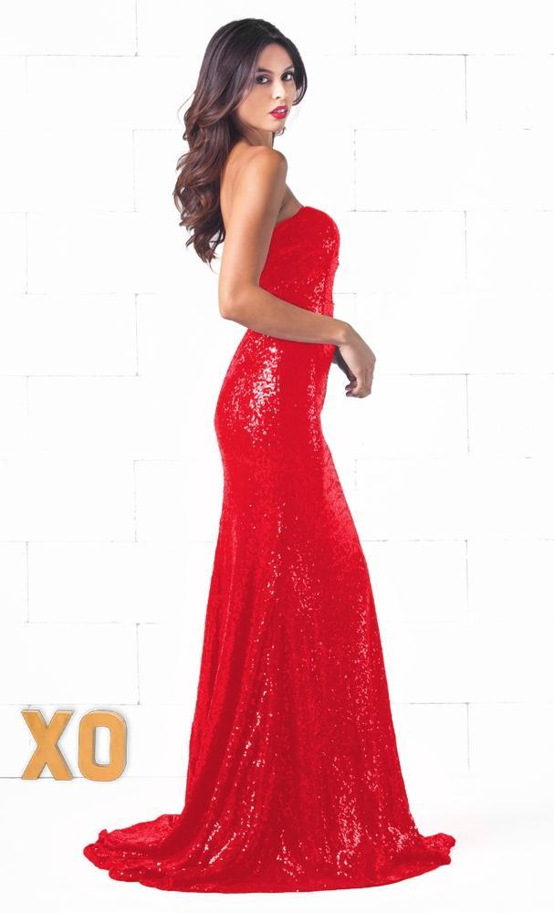 Indie XO Glamour Queen Red Sequin Strapless V Neck Fishtail Trumpet Mermaid Maxi Dress Gown - Just Ours! - Sold Out