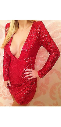 Moulin Rouge Red Sequin Plunging Long Sleeve Mini Bodycon Tulip Dress- Sold Out