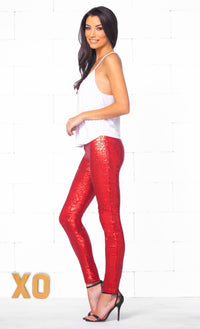 Indie XO Roses Are Red Sequin Stretch Leggings with Elastic Waistband - Sold Out