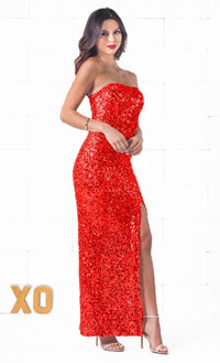 Indie XO Glimmer Girl Red Strapless Sexy Slit Thigh Maxi Dress - Just Ours! - Sold Out