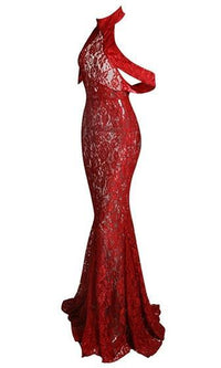 Naughty or Nice Red Sheer Floral Lace Halter Off The Shoulder Mermaid Maxi Dress - Sold Out