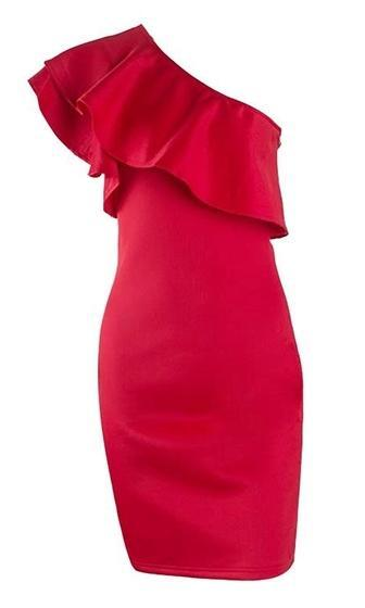 Let's Go Crazy Red One Shoulder Ruffle Bodycon Mini Dress