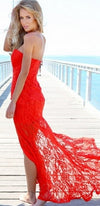 Red Lace Strapless Plunge Sweetheart Neck Zip Back Thigh Slit Maxi Dress - Sold Out