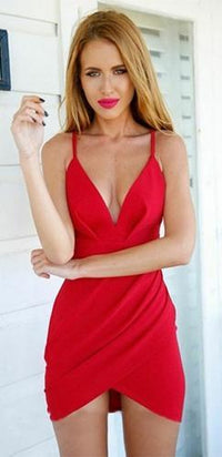 Sugar Baby Red Spaghetti Strap Plunge V Neck Cut Out Back Cross Wrap Tulip Bodycon Mini Dress - Sold Out