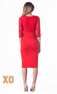 Indie XO Secret Rendezvous Red Floral Lace 3/4 Sleeve Bodycon Plunging Neckline Pencil Skirt Midi Dress - Just Ours! - Sold Out