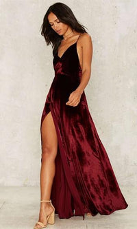 Hot and Heavy Red Burgundy Velvet Spaghetti Strap Cross Wrap V Neck High Slit Maxi Dress - Sold Out