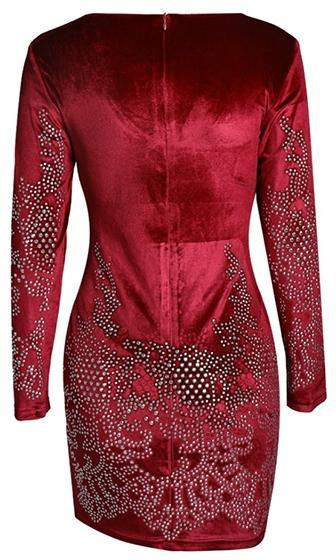 Break Up Red Velvet Rhinestone Long Sleeve Scoop Neck Bodycon Mini Dress - Sold Out