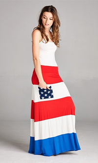 All American White Red Blue Foldover Waist Stripe Star Pocket Flag Maxi Skirt - Sold out