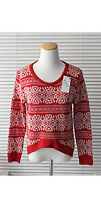 Red White Scoop Neck Long Sleeve Geometric High Low Nordic Pullover Sweater - Sold Out