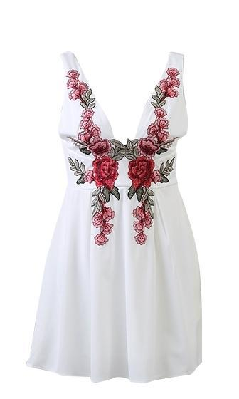 For Your Love White Red Green Rose Floral Sleeveless Plunge V Neck Skater Circle A Line Flare Mini Dress - Sold Out