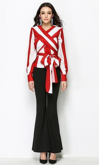 Cirque du Style Red White Vertical Stripe Pattern Cross Wrap V Neck Long Sleeve Chiffon Tie Blouse Top