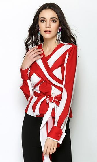 Cirque du Style Red White Vertical Stripe Pattern Cross Wrap V Neck Long Sleeve Chiffon Tie Blouse Top  - Sold Out