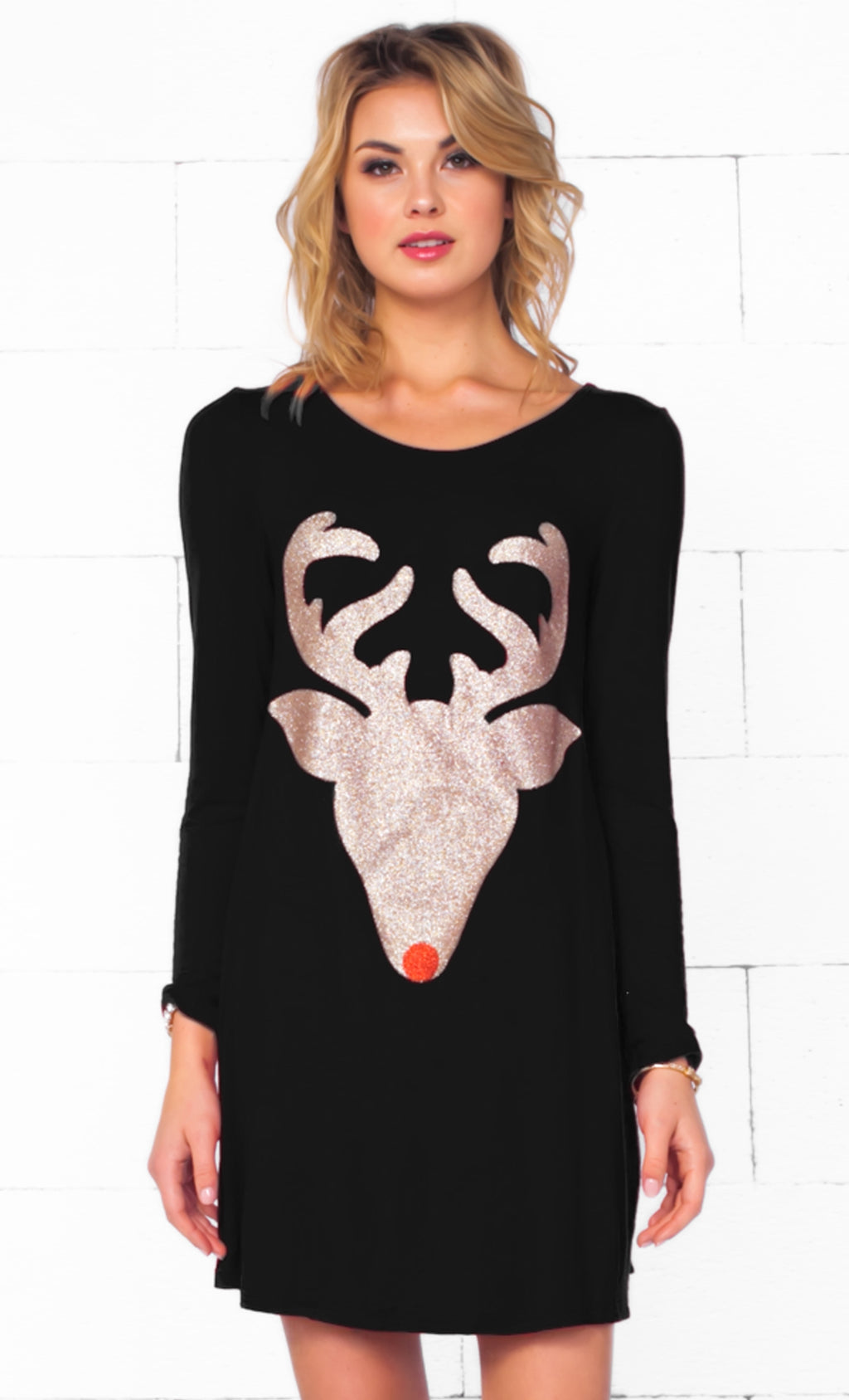 Indie XO Dear Santa Black Gold Glitter Red Nose Reindeer Head Long Sleeve Scoop Neck Tunic Top Mini Dress - Sold Out