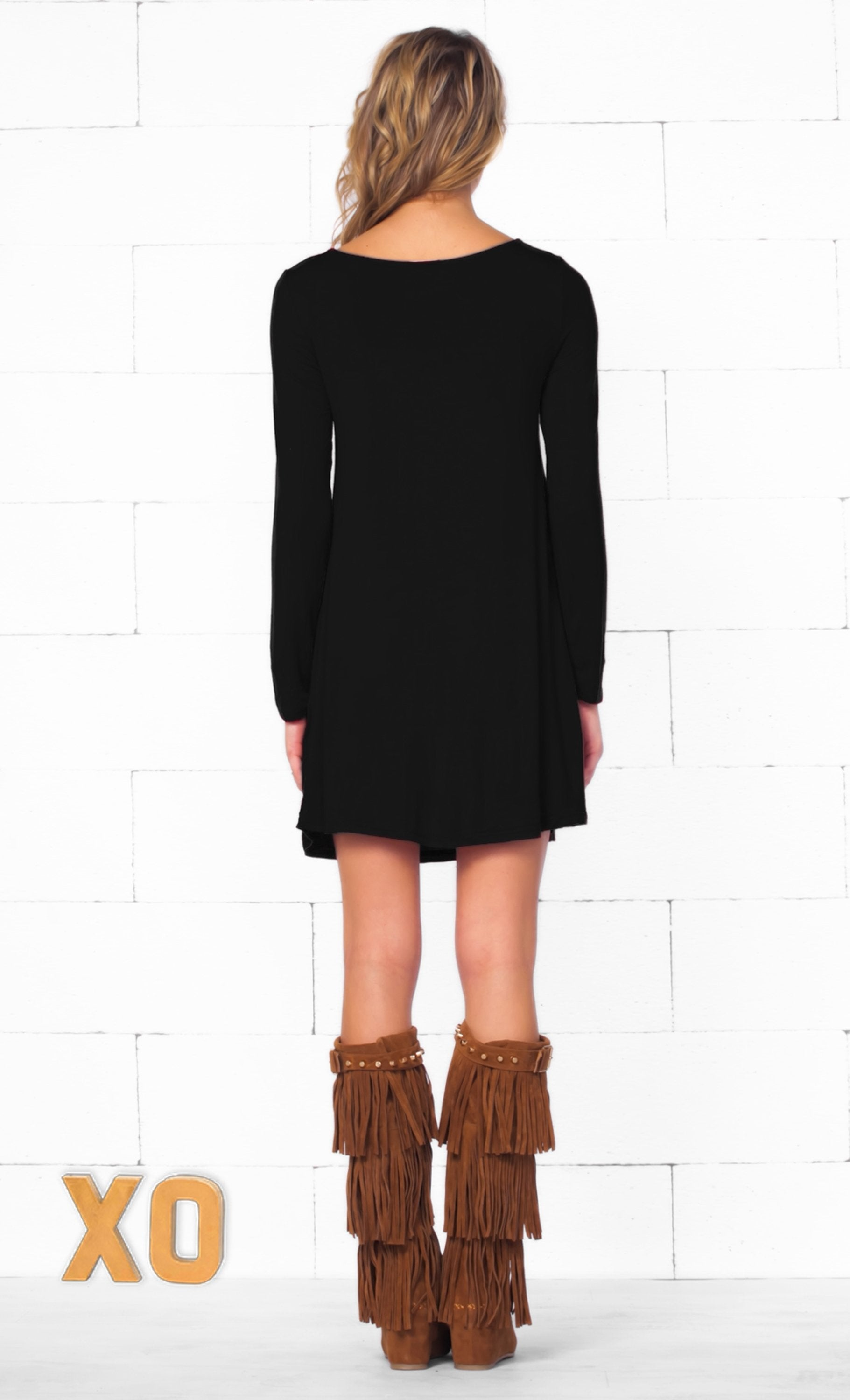 Indie XO Dear Santa Black Gold Glitter Red Nose Reindeer Head Long Sleeve Scoop Neck Tunic Top Mini Dress