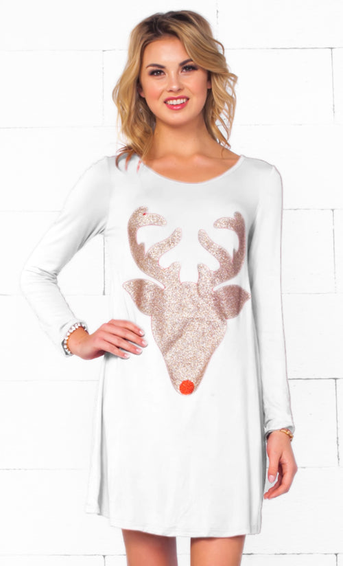 Indie XO Dear Santa White Gold Glitter Red Nose Reindeer Head Long Sleeve Scoop Neck Tunic Top Mini Dress