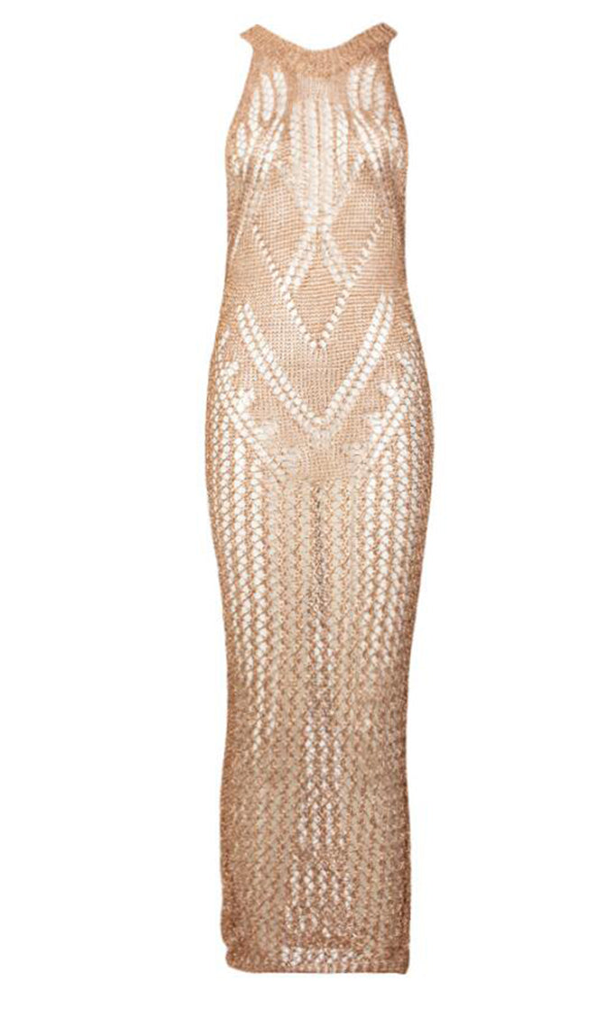 No Filter Rose Gold Sheer Crochet Lace Sleeveless Scoop Neck Bodycon Maxi Dress
