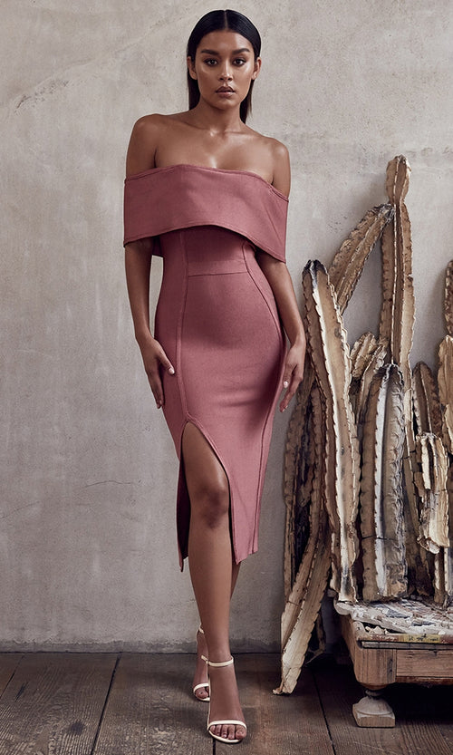 Rose Petals Dusty Dark Pink Strapless Fold Over Off The Shoulder Slit Bodycon Bandage Midi Dress