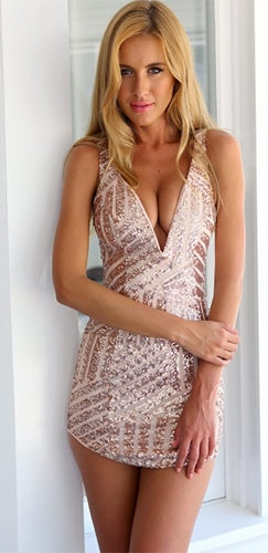 6426fda007 Rose Gold Sleeveless Plunge V Neck Geometric Sequin Bodycon Mini Dress -  Sold Out