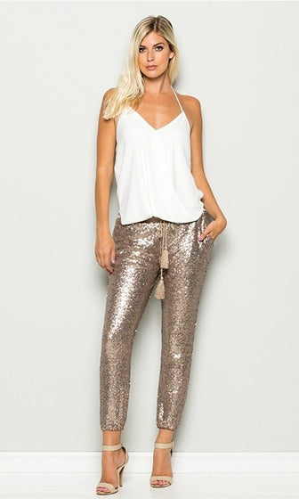 Glam Rock Rose Gold Sequin Drawstring Tassel Waist Jogger Pant (Pre-Order) - Sold Out