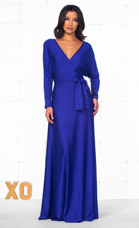 Indie XO All Wrapped Up Blue Long Batwing Sleeve Cross Wrap V Neck Tie Waist Maxi Dress - Just Ours! - Sold Out